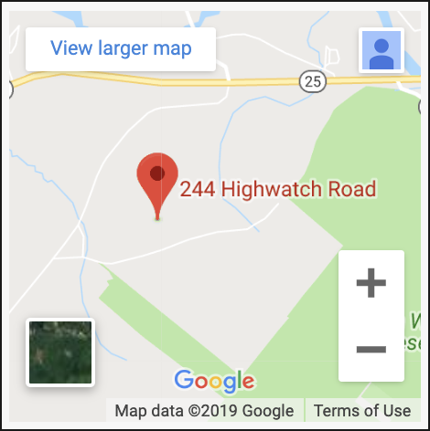 map shows location of Green Mountain Treatment Center at 244 Highwatch Road in Effingham New Hampshire
